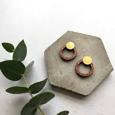 <b>Geometric</b> Circle Stud <b>Earrings</b> - Burnt Orange & Brass – Mica Peet
