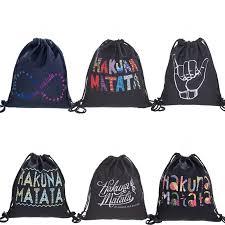 <b>Hakuna Matata</b> 3D Digital <b>Printing</b> Drawstring Bag Black Backpack ...