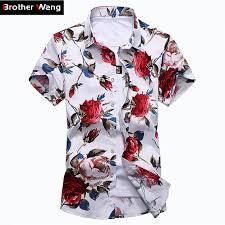 <b>Summer New</b> Men's Casual Hawaiian Flower Shirt <b>Fashion</b> ...