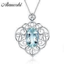 2018 <b>AINUOSHI</b> 1ct <b>Oval</b> Cut Heart Pendant Necklace Pure 925 ...