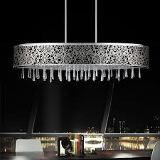 picture of 38 drago modern crystal oval laser cut stainless steel shade black fabric pendant black fabric lighting