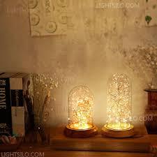 Wood Glass Shade Night <b>Light Nordic LED</b> Decorative Table <b>Lamp</b> ...