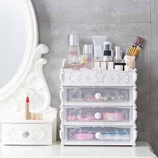 Plastic <b>Cosmetic Drawer</b> Container <b>Makeup Organizer Box</b> For ...