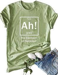 Romacci- <b>Women Funny</b> Letter T-Shirt The Element of Surprise <b>Print</b> ...