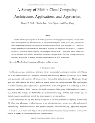 a survey of mobile cloud computing architecture applications a survey of mobile cloud computing architecture applications and approaches pdf available