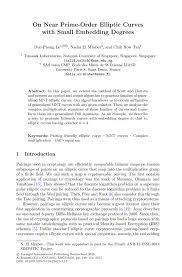 on near prime order elliptic curves small embedding degrees inside