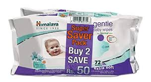 Buy Himalaya Gentle Baby Wipes - 72 Pieces (<b>Pack</b> of <b>2</b>) Online at ...