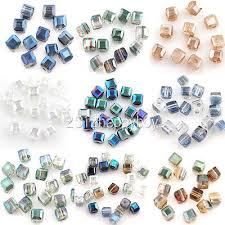 <b>Top</b> Quality 50/<b>100PCS Colorful</b> Crystal Cube Faceted Loose ...