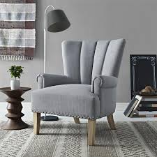 gray channel tufted nailhead trim accent chair channel tufted furniture