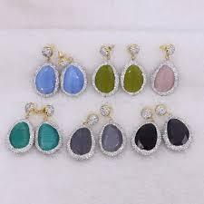 <b>5 Pairs</b> Silver Rhinestone Faceted Natural Stone Drop Dangle