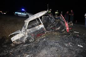 Konya'da kaza yapan araç yandı: 1 ölü 5 yaralı