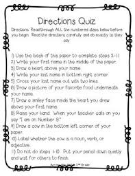 ideas about following directions on pinterest  speech  free tricky following directions quizzes a fun way to remind students about the importance of