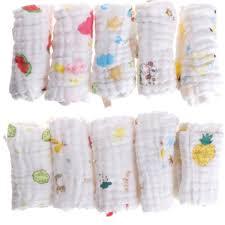 <b>Baby</b> Hanky Handkerchief <b>6 Layer</b> Towel Muslin Cotton <b>Infant</b> Bib ...
