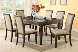 Marble Top Kitchen Table Set Acme Agatha 7pc Black Marble Top Rectangular Dining Room Set In