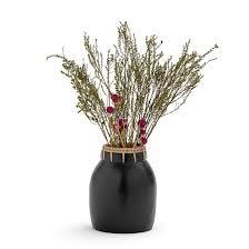 <b>Ваза декоративная</b> из керамики и ротанга в20,5 см kuro черный ...