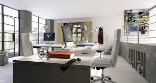 terrific loft modern home office interior decor with writng desk chairs table lamps bookshelves clothes hanger window glass door railing storage and wall captivating office interior decoration