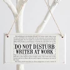 gifts for writers little bookish gifts the little bookish gift co do not disturb writer at work wooden door sign the little bookish gift