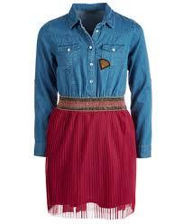 GUESS Big Girls Denim <b>Mesh Pleated Dress</b> & Reviews - <b>Dresses</b> ...