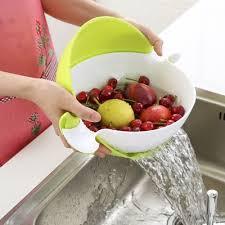 <b>Double Layer</b> Round Draining Basket Kitchen Bracket <b>Collapsible</b> ...