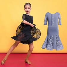 New Girls Latin Dance Ballroom Salsa Tango Dress Kid Child Lace ...
