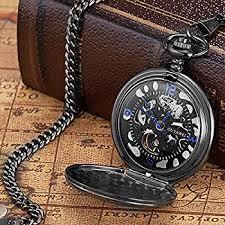 <b>OUYAWEI</b> Pocket Watch Stainless Steel Case <b>Skeleton</b> Dial Blue ...