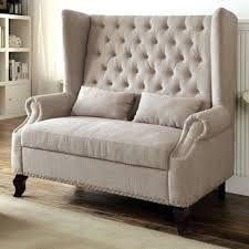dining items upholstered settee tufted wing furniture of america allier romantic tufted wingback loveseat bench