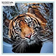 ZOOYA DIY <b>3D Round</b> Diamond Painting Animal <b>Tiger</b> Embroidery ...