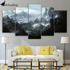 <b>HD 5 piece</b> canvas painting the elder scrolls v skyrim posters and ...