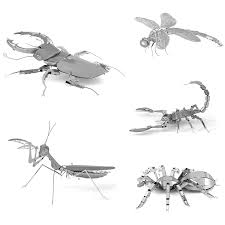 <b>Insect</b> Dragonfly <b>3D Metal Puzzle</b> Stag Beetle Animals DIY Laser ...