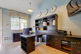 blue modern home office interior design with dark brown furniture stock image blue home office