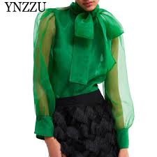 <b>YNZZU</b> 2019 <b>Spring</b> Elegant Tie Neck Bow Blouse Women <b>Red</b> ...