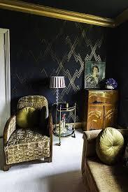 rachels art deco living room ii navy walls with metallic gold stencil and moldings art deco inspired pinterest