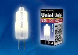 <b>Лампа</b> галогенная <b>G4</b> 35W/12V/<b>FR Uniel</b> (1/100) <b>JC</b>-<b>12/35</b>/<b>G4 FR</b> в ...