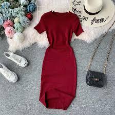 <b>NiceMix</b> Knitted Solid Women Dress Summer <b>2019 New</b> O Neck ...