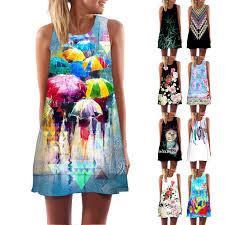 Fashion <b>Digital Printing Round</b> Neck Casual <b>Beach</b> Dress Print ...