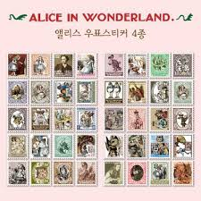 <b>4 Pcs</b> / <b>Pack</b> Diy Vintage Retro Paper <b>Stickers</b> Alice Stamp <b>Sticker</b> ...