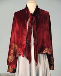 1920s Burnt Orange Silk Velvet Cape with Floral Lame and <b>Ostrich</b> ...