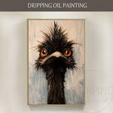 New Design <b>Artist Hand painted High Quality</b> Ostrich Oil Painting on ...