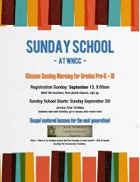 sunday school wncc sunday school flyer page 0
