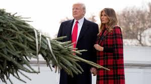 President Trump first lady <b>Melania</b> Trump greet WH Christmas tree