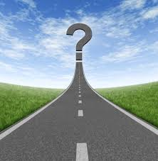 the questions road to change and business career path as a rising highway a question mark on