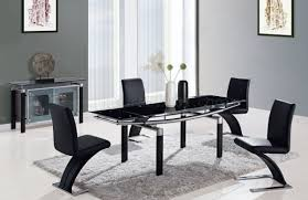 size dining room contemporary counter: black modern  dt dining table w black glass top amp options