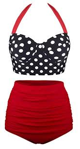 Anger Ella Women's Retro Style Polka Dots <b>High Waist Bikini</b> ...