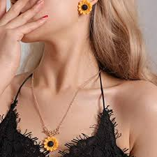 AKDSteel <b>2pcs</b>/<b>Set</b> Women <b>Fashion</b> Sunflower Design <b>Necklace</b> ...