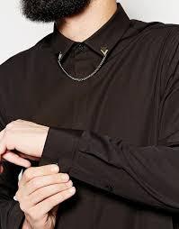 ASOS - Smart <b>Shirt</b> In Longline With Collar <b>Chain</b> in 2019 | Collar ...