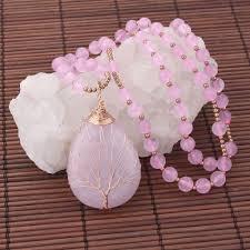 Jovivi <b>Natural Rose Quartz</b> Tree of Life Necklace Wire Wrapped ...