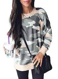 Actloe Women Camo Printed Long Sleeve Pullover ... - Amazon.com