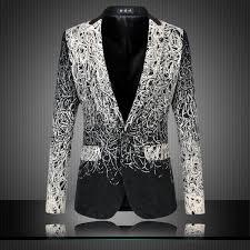 2019 <b>2015 New Fashion</b> Design Men Blazer Floral Suit Personality ...