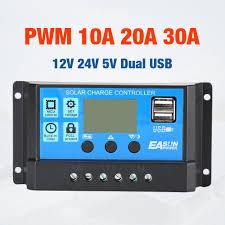 10A 20A 30A <b>Solar</b> Charge Controller <b>12V 24V Auto</b> PWM 5V ...