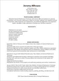 Professional General Maintenance Technician Templates to Showcase ... Resume Templates: General Maintenance Technician